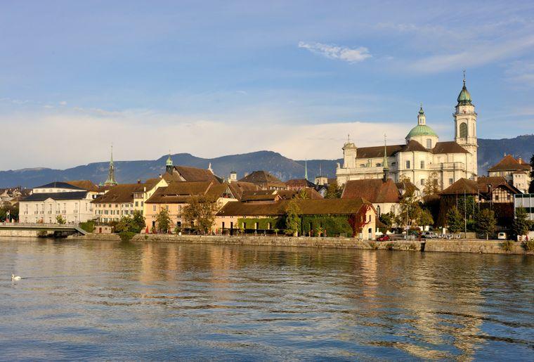Solothurn Sicht auf Altstadt mit Aare