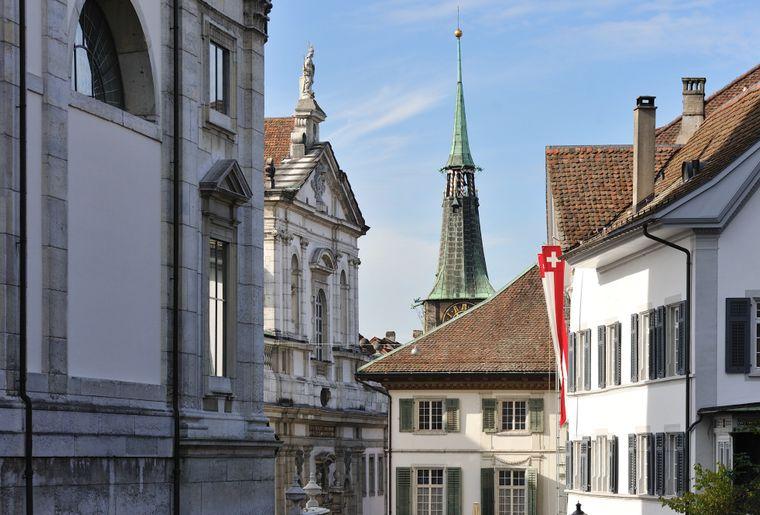 Solothurn Altstadt Sicht Jesuitenkirche und Zytglogge