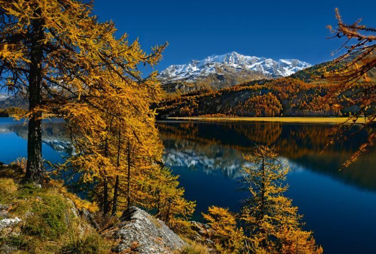 Silvaplanersees in Richtung Piz Corvatsch low res - Herbst in der Schweiz.jpg