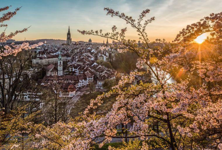 Abendliches Fruehlingspanorama der Altstadt, Bern..jpg