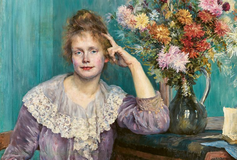 Louise Catherine Breslau_Jeune femme et chrysanthèmes. Portrait de Madame Carlsson-Bredberg -Detail-_1890_Öl auf Leinwand_Privatbesitz.jpg