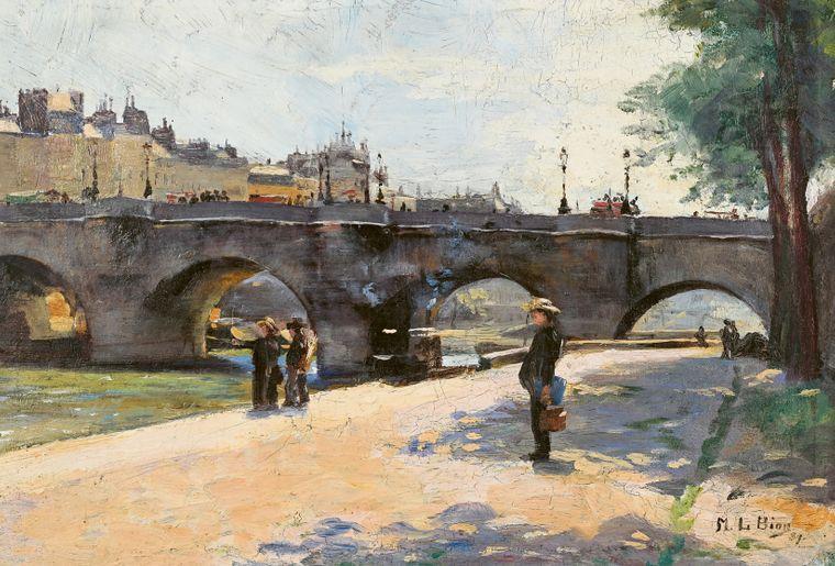 Marie-Louise Bion _ Spaziergänger beim Pont Neuf _ 1889 _ Öl auf Malkarton _ Privatbesitz.jpg