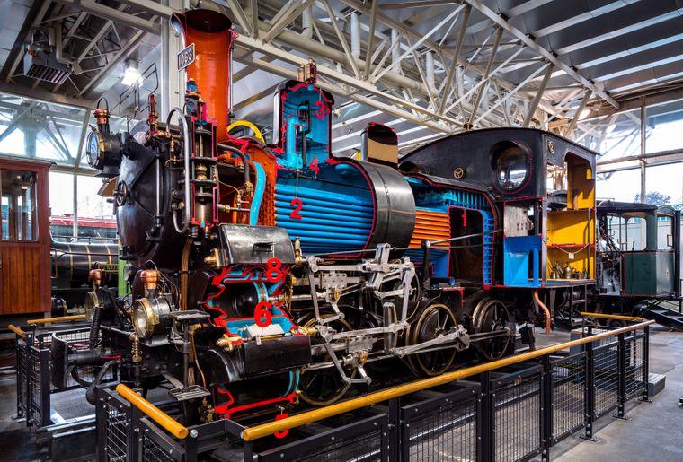Schienenhalle, Zahnrad-Dampflokomotive HG 3 3 Nr 1063 SBB Brüniglinie, Einfache Dampferzeugung, komplizierte Dampfmaschine, Bild Roger HofstetterVerkehrshaus.jpg