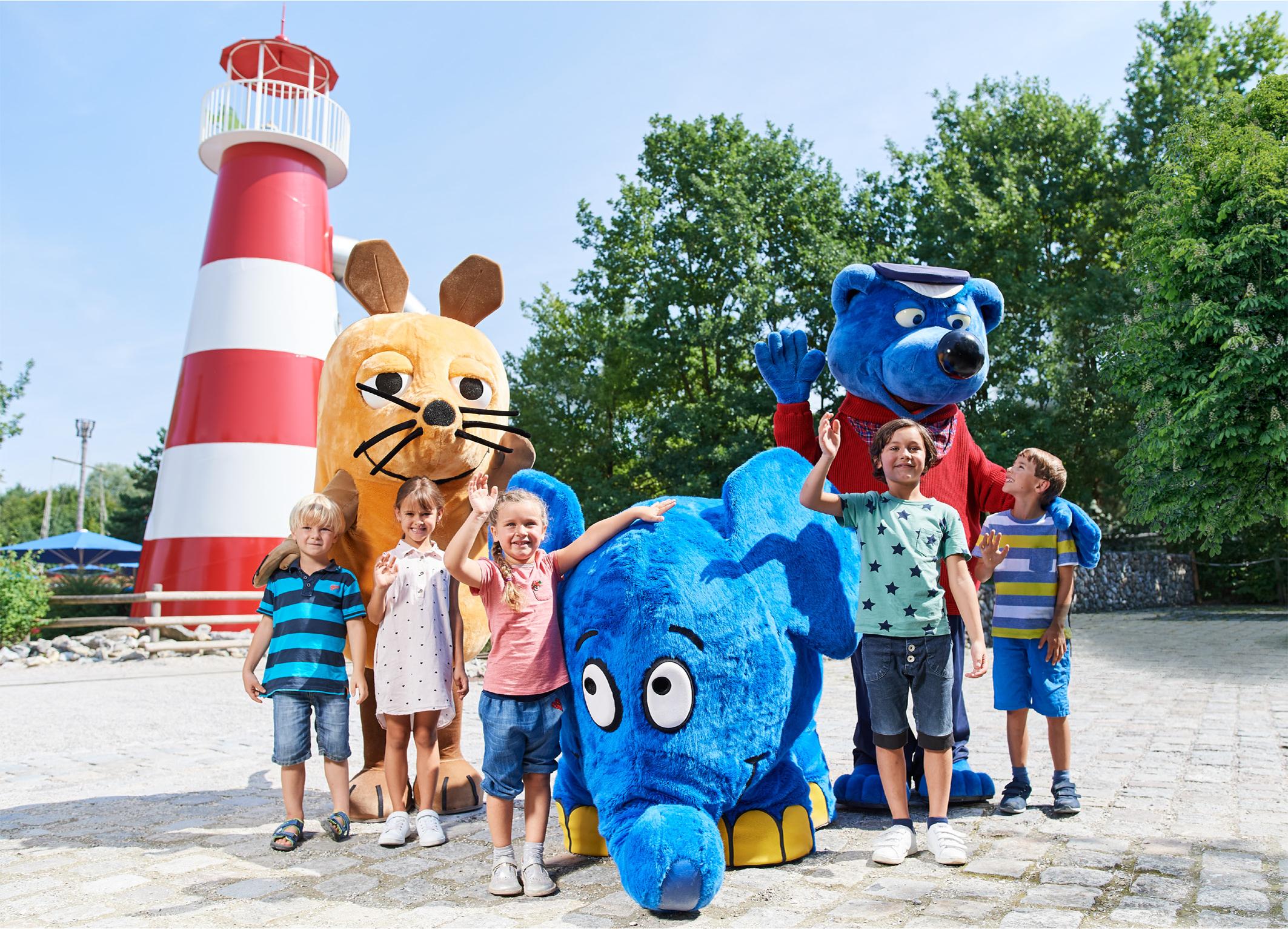 Ein Treffen mit der Maus und dem blauen Elefanten im Ravensburger Spieleland